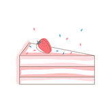 Strawberry cake slice. Isolated object. White background. Vector illustration for birthday card, invitation, recipe, menu Stock Photography