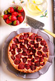 Strawberry cake, sliced and served Stock Images