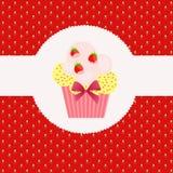 Strawberry cake on strawberry background. Royalty Free Stock Image