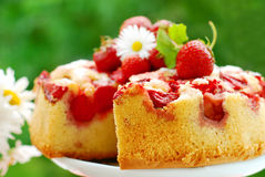 Strawberry cake on table in the garden stock image