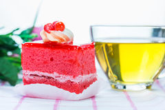 Strawberry cake and tea Stock Photos