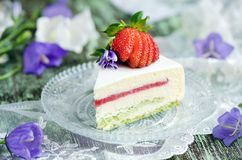 Strawberry cake with vanilla mousse Royalty Free Stock Image