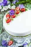Strawberry cake with vanilla mousse Royalty Free Stock Photography