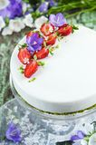 Strawberry cake with vanilla mousse Stock Photo