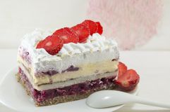 Strawberry cake with whipped cream Royalty Free Stock Images