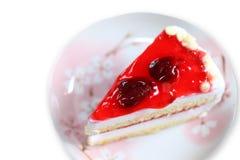 Strawberry cake on white background.  Stock Images
