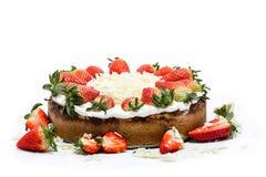 Strawberry cake on white background Royalty Free Stock Image