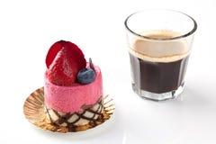 Strawberry cake on white background. Strawberry mousse cake on white background Royalty Free Stock Images