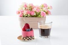 Strawberry cake on white background. Strawberry mousse cake on white background Royalty Free Stock Photo