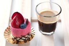 Strawberry cake on white background. Strawberry mousse cake on white background Stock Photos