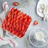 Strawberry cake on white baking dish Stock Image