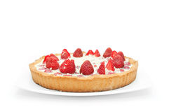 Strawberry cake on white dish Royalty Free Stock Photography