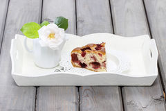 Strawberry cake on white wooden tray Stock Photo