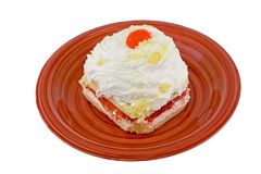 Strawberry cake on whtie. Strawberry cake snack on red plate on white Stock Photos