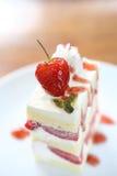 Strawberry Cake on wood Stock Images