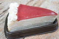 Strawberry cake. On wooden background Royalty Free Stock Photo
