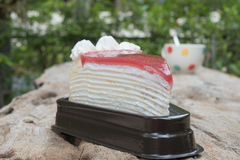 Strawberry cake. On wooden background Stock Photo
