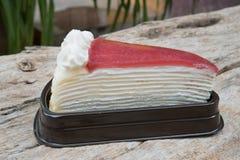 Strawberry cake. On wooden background Stock Image
