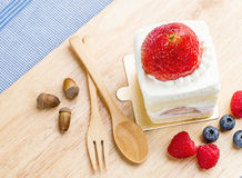 Strawberry cake on wooden background, Cake with strawberries, Royalty Free Stock Photography