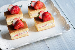Strawberry cakes. Some delicious handmade strawberry cakes for the afternoon tea stock photos