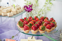 Strawberry Canapé. S on buffet Royalty Free Stock Photos