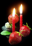 Strawberry and candles Royalty Free Stock Photography