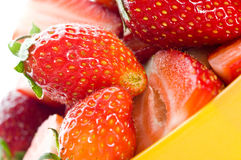 Strawberry on cap Stock Photos
