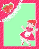 Strawberry card. Card with strawberries and a cute girl Stock Photography