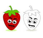 Strawberry cartoon. Vector illustration of a smiling cartoon strawberry. The black and white version is useful for coloring book pages for children stock illustration
