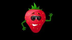 Strawberry cartoon character waving hand. Animation stock video