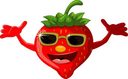 Strawberry cartoon with eyeglasses Royalty Free Stock Image