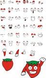 Strawberry cartoon set. In format royalty free illustration