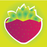 Strawberry. Cartoon Strawberry on special green background Stock Photo