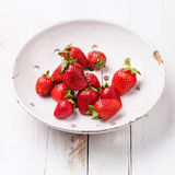 Strawberry in ceramic colander Stock Images