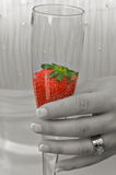 Strawberry in Champagne Stock Photography