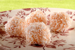 Strawberry champagne truffle with coconut flakes Royalty Free Stock Photo