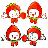 Strawberry character couples on Running. Fruit Character Design Stock Images