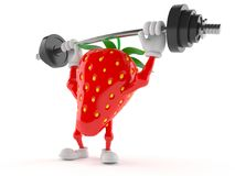 Strawberry character lifting heavy barbell Royalty Free Stock Images