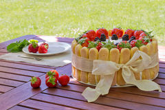 Strawberry charlotte cake Royalty Free Stock Photo