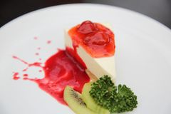 Strawberry cheese cake. On a plate stock photo