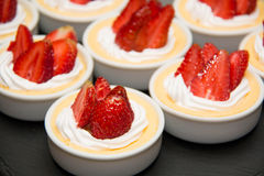 Strawberry cheese cake in cup. Stock Photos