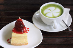 Strawberry cheese cake and Green tea Royalty Free Stock Image