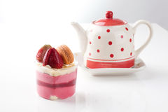 Strawberry cheese cake. Isolated strawberry cheese cake. It is good for special occasions Stock Images