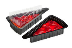 Strawberry cheese cake in plastic tray Stock Photo