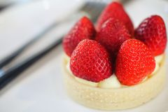 Strawberry cheese tart cake dessert sweet food. In closeup stock photos