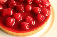 Strawberry Cheesecake. A delicious strawberry cheesecake on a plate royalty free stock image