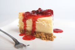 Strawberry cheesecake. Cheesecake with strawberry topping , selective focus stock image