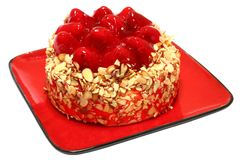 Strawberry Cheesecake with Clipping Path Royalty Free Stock Images