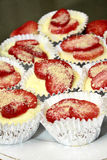 Strawberry cheesecake cupcake Stock Photo