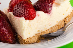 Strawberry cheesecake detail Stock Photos